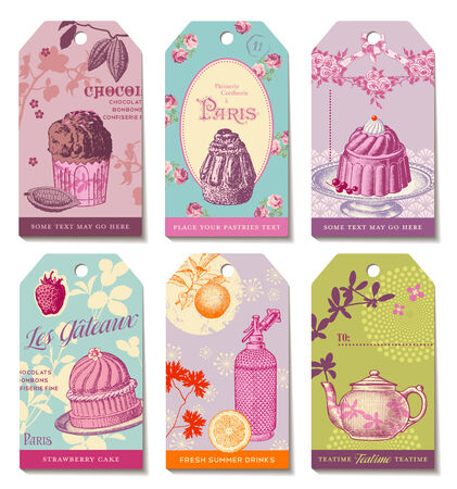 bakery price: set of 6 colorful food-themed daytime