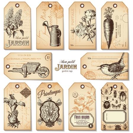 set of 10 retro garden tags Vector