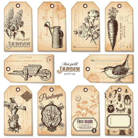 pushcart: set of 10 retro garden tags