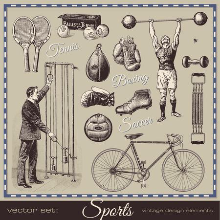 vector set: sports - collection of retro design elements 일러스트