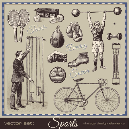 weightlifting gloves: vector set: sports - collection of retro design elements Illustration