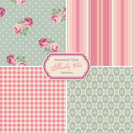 seamlessly tiling shabby chic patterns Vector