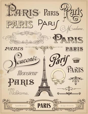 paris vintage: París caligrafía - conjunto de elementos de diseño escrito a mano