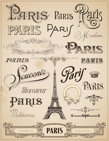 french symbol: Paris calligraphy - set of hand-lettered design elements