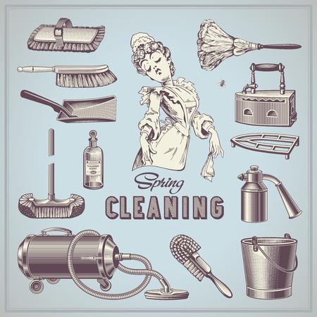 gospodarstwo domowe: wiosenne porządki - zestaw elementów ręcznie rysowane rocznika gospodarstwa domowego