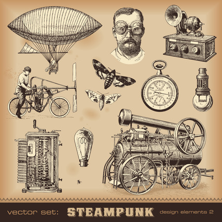 Steampunk design elements Vector