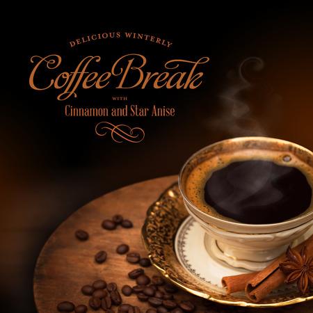 黄金の杯、winterly スパイスのブラック コーヒー