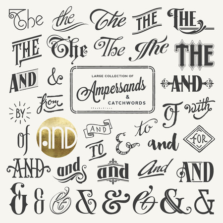 collection of ampersands and catchwords Illustration