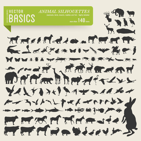 more than 140 detailed animal silhouettes Stock Illustratie