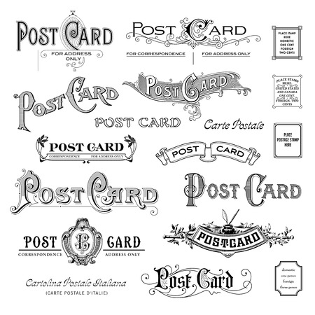 variety of vintage postcard headpieces