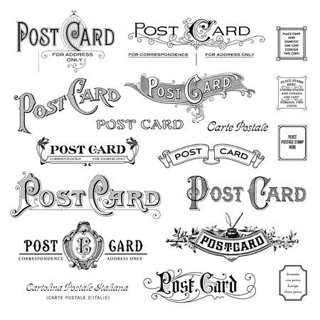 variedad de tocados postal de época Vectores