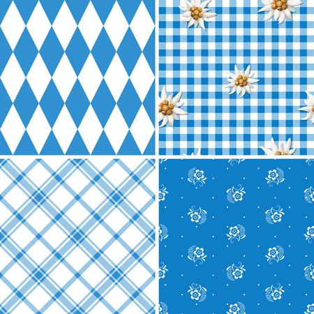 4 つの伝統的なバイエルンのパターンのセット  イラスト・ベクター素材