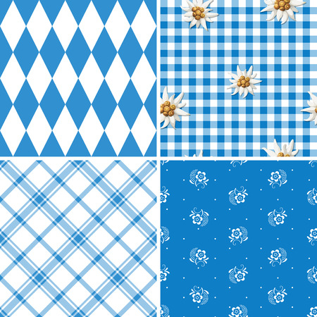 german tradition: set of four traditional bavarian patterns