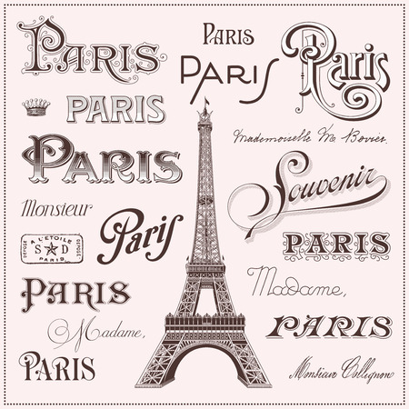 stamp collection: calligraphic Paris design elements and Eiffel tower illustration