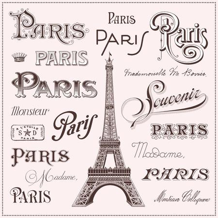 calligraphic Paris design elements and Eiffel tower illustration