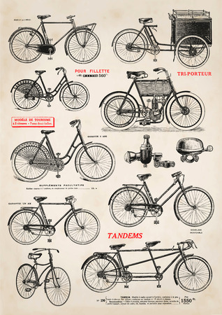 tandem bicycle: collection of vintage bicycle illustrations