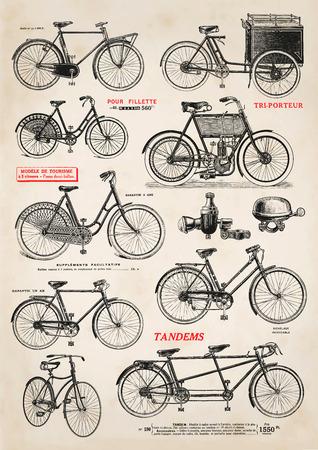 Raccolta di illustrazioni di biciclette d'epoca Archivio Fotografico - 39312405