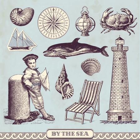 childhood cancer: seaside design elements Illustration