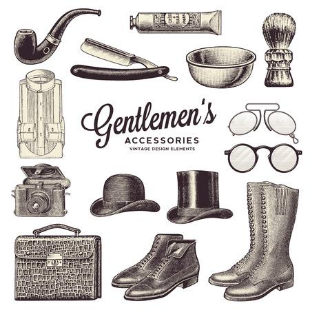 kapelusze: Akcesoria Vintage dżentelmeńskich i elementy projektu Ilustracja