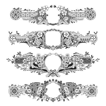 4 つの詳細な花フレーム白セット