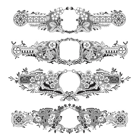 set of four detailed floral frames on white
