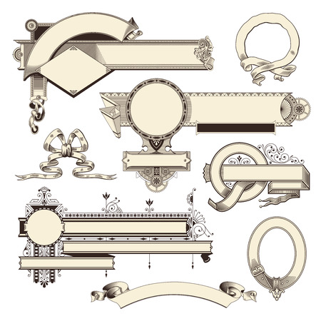 collection of ornate headpieces banners and scrolls Vector