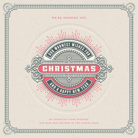 正方形レトロ ベクトル クリスマス カード デザイン装飾ラウンド ラベルまたは対応するフレームのバッジは、バクダンと活版効果 - あなたの休日