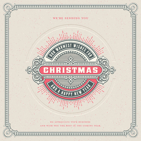 letterpress: square retro vector christmas card designtemplate with ornamental round label or badge, corresponding frame, starburst and letterpress effect - perfect for your holiday and seasons greetings