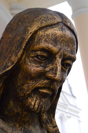 Gloomy look of a bronze statue