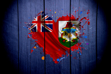 Flag of Bermuda in the shape of heart on a dark background