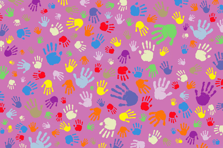 Background of many colored handprints on a pink background 版權商用圖片