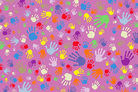 Fondo de muchas huellas de manos de colores sobre un fondo rosa