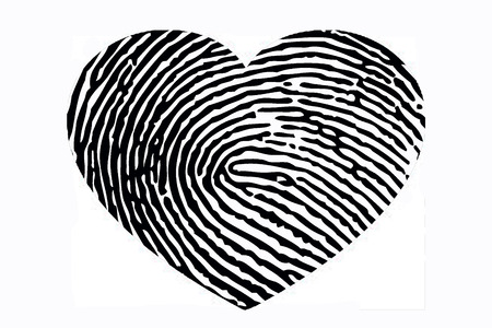 Heart with fingerprint pattern