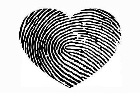 Heart with fingerprint pattern