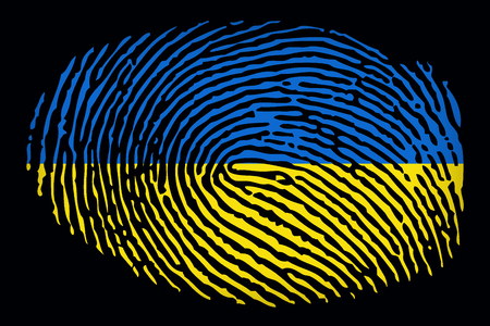 Flag of Ukraine in the form of a fingerprint on a black background