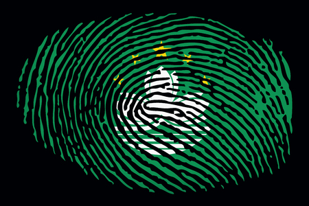 Flag of Macau in the form of a fingerprint on a black background