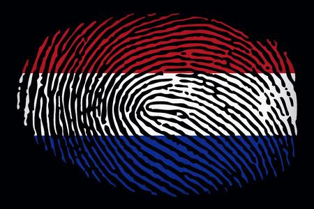 Flag of the Netherlands in the form of a fingerprint on a black background Imagens