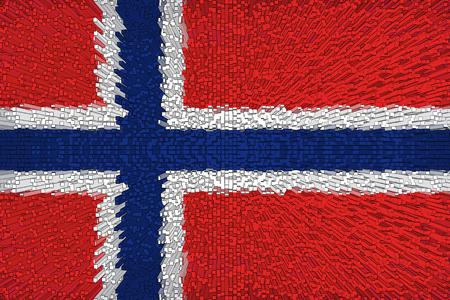 Beautiful Norway flag closeup