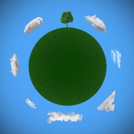 3D rendering of a green tree Banco de Imagens