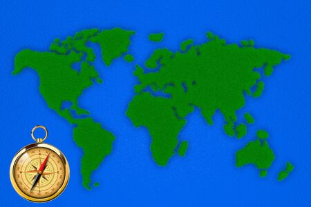 3D illustration of a world map in green colors Banco de Imagens