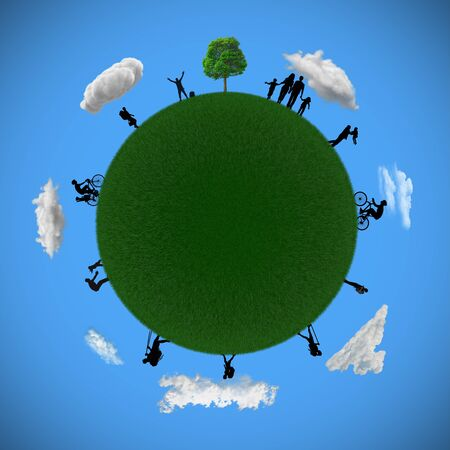 3D illustration planet earth with happy people Stock Photo