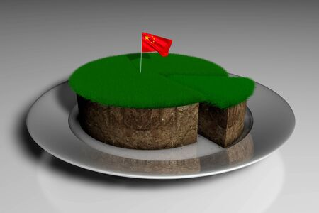 3D illustration of a piece of land with grass with the flags of China on a white background