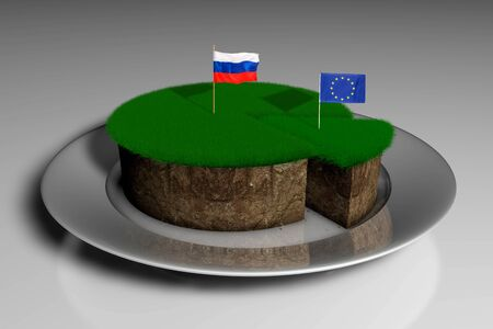 3D illustration a piece of land with grass with the flags of Russia and the European Union 版權商用圖片