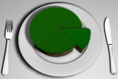 3D illustration soil with grass in the shape of a cake with a cut piece