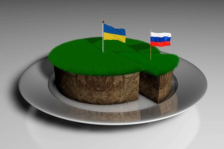 3D illustration a piece of land with green grass and the stuck flag of Ukraine and Russia