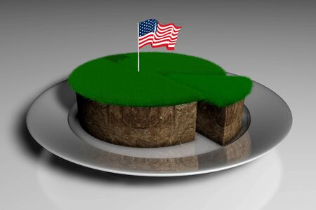 3D illustration a piece of land with green grass in a plate and the stuck flag of America