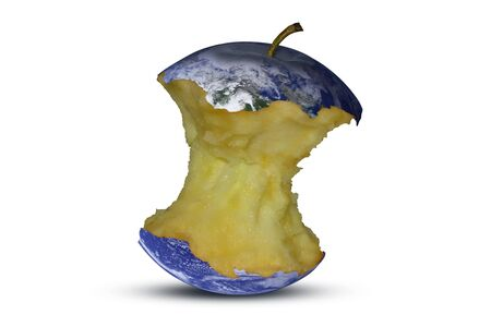 Planet earth in the form of an apple core