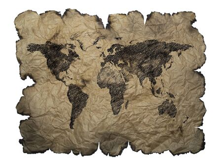 World map painted on old parchment Фото со стока