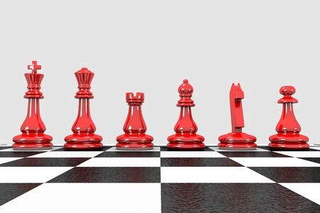 3D illustration red chess pieces stand in a row