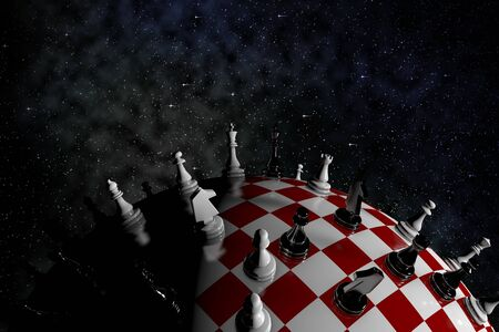 3D illustration of a globe in the form of a chessboard with figures